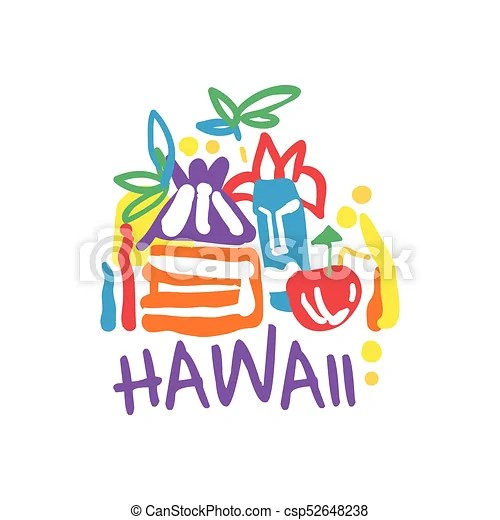 Exotic Summer Vacation Logo Of Hawaii Beach Exotic Summer Vacation Colorful Graphic Design Hand Drawn Template Hawaii