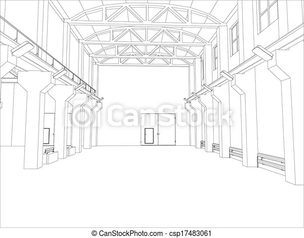 Factory environment. wire-frame. vector eps10 format
