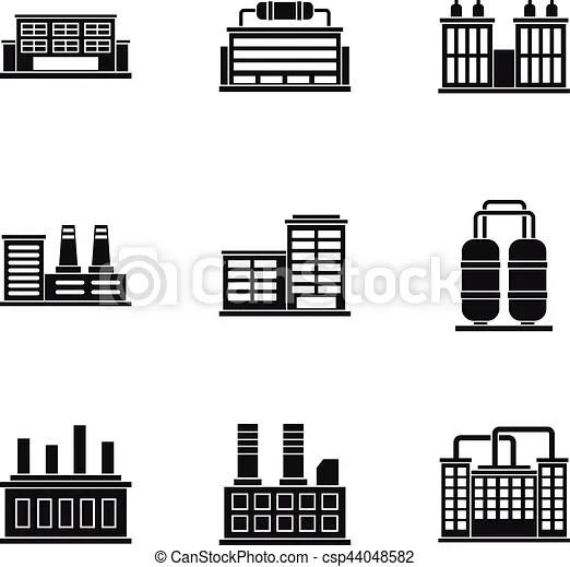factory icons set simple