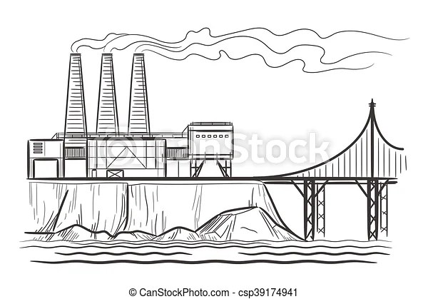 Factory industrial landscape with bridge engraving vector