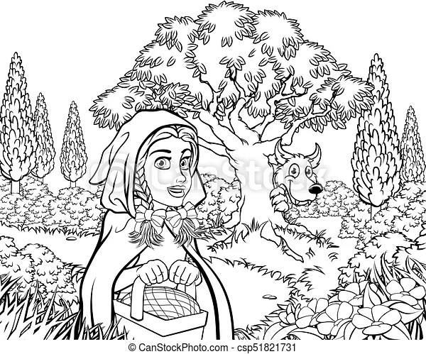 Fairytale little red riding hood coloring scene. Scene