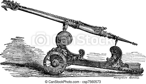 Falcon cannon vintage engraving. Old engraved illustration