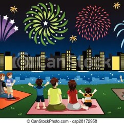 Wheelchair On Fire Gravity Lawn Chairs A Vector Illustration Of Families Watching Fireworks In A... Clipart - Search ...