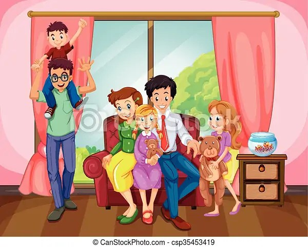 living room pictures clipart ideas indian style family members in the illustration csp35453419