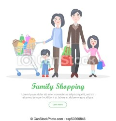 Family shopping cartoon flat vector concept Family shopping banner young man and woman make purchases with kids cartoon
