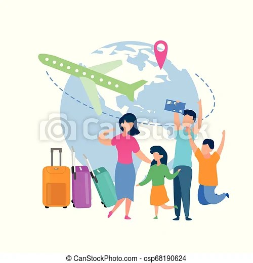 Family Summer Vacation Travel Flat Vector Concept Family Summer Vacation Trip Flat Vector Concept With Happy Parents With