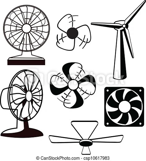 Fans ventilators. Various spinning ventilators and fans.