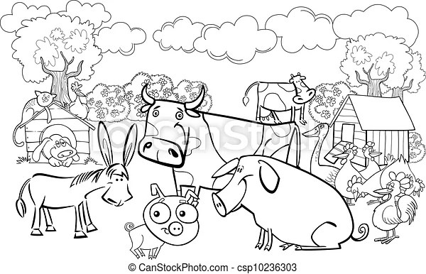 Farm animals for coloring book. Cartoon illustration of