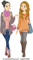 Fashionable teen girls walking Illustration featuring a pair of young teenage girls wearing fashionable clothing walking CanStock