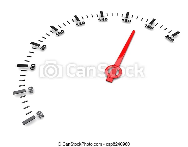 Abstract 3d illustration of fast speed gauge stock