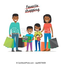 Favorite shopping family makes purchases at mall Favorite shopping conceptual banner african family father mother CanStock