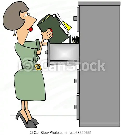 Female file clerk standing on her tip-toes. Illustration of a female file clerk standing on her tip-toes looking at the top drawer.