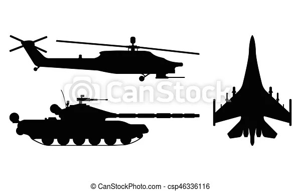 Fighter aircraft, tank, helicopter silhouette. military