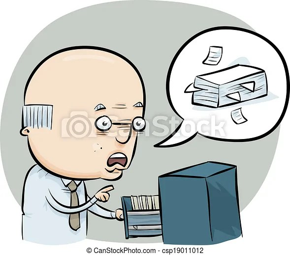 File clerk. A cartoon man talks about managing the office files.