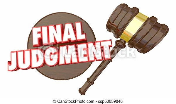 Final judgment decision gavel choice 3d illustration.