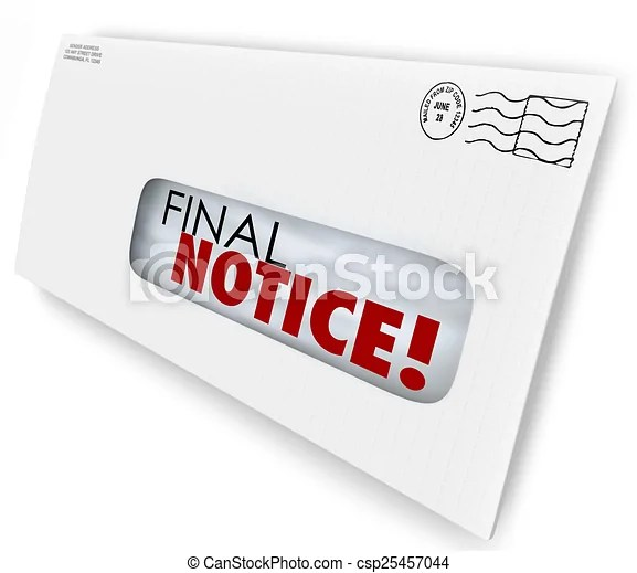 final notice envelope bill invoice