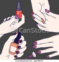 Fingernails, hands with nail polish. Nail polish art ...