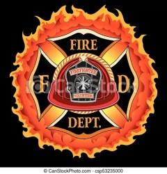 fire department cross volunteer helmet flames firefighter maltese fireman emblem clipart vector badge illustration clip line graphics drawings artwork icon