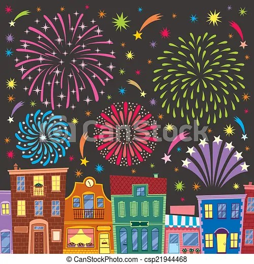 Fireworks Above Cartoon City No Transparency And