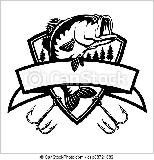 Fishing logo. bass fish with template club emblem. fishing