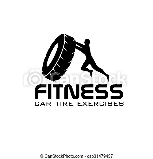 Fitness car tire exercises vector design template.