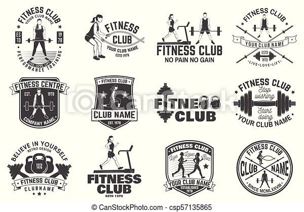 Fitness club badges. vector. for fitness centers emblems