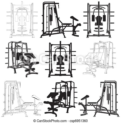 Fitness home simulator gym for sports training vector