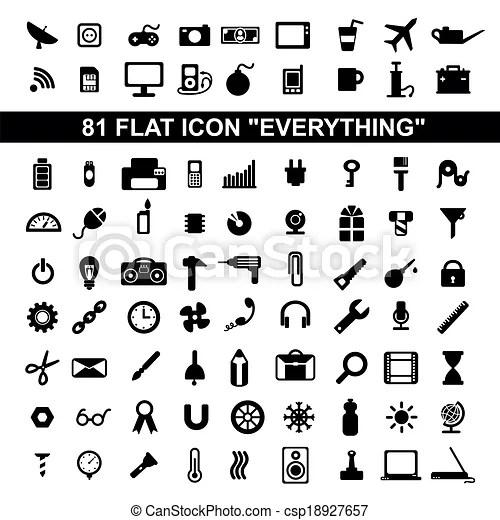 Set everything flat icons, stationery, weather, office