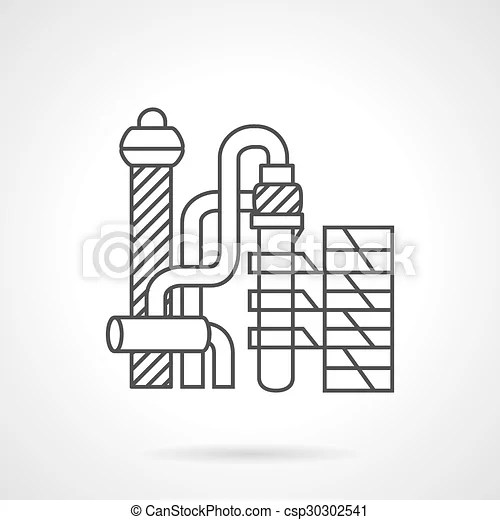 Flat line vector icon for petrochemical plant
