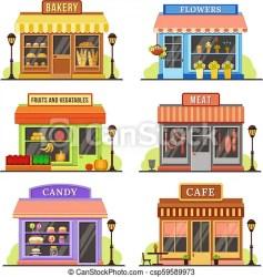Flat store modern shop boutique shopfront and restaurant facade design shopping stores cartoon illustration set Flat CanStock