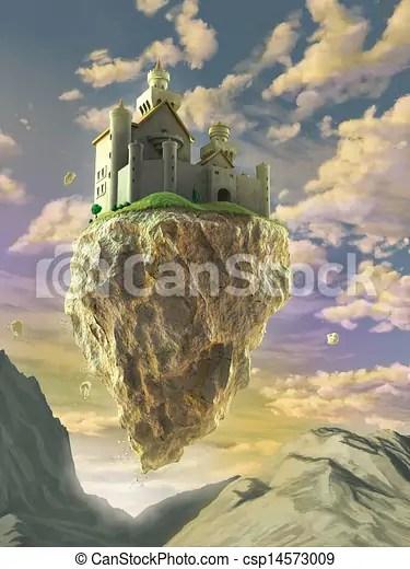 Floating Castle Fantasy Castle Floating On A Big Rock