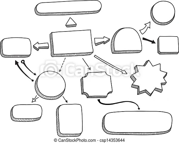 Flowchart vector illustration. Hand drawn vector