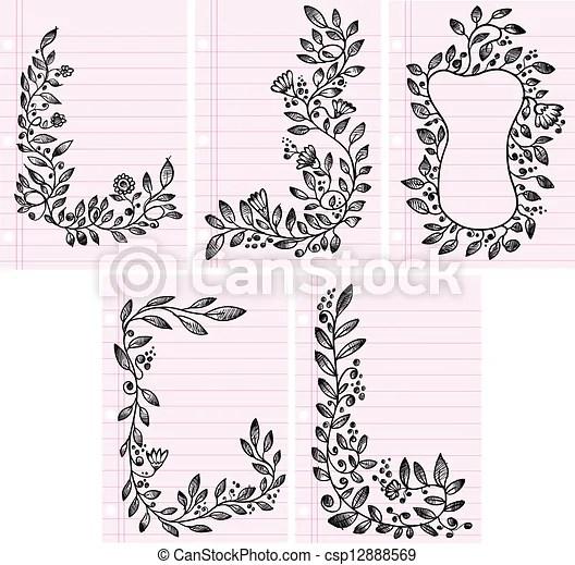 Flower vines frame boarder set Sketch flower vines frame