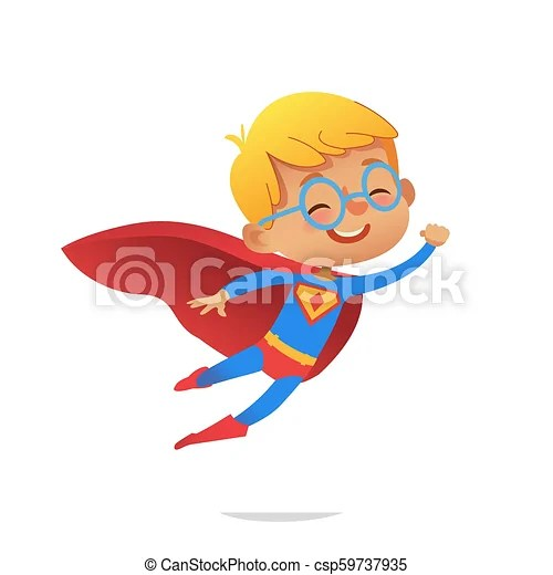 flying boy wearing colorful