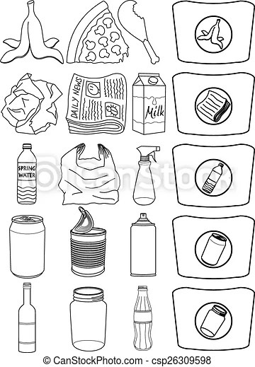 Food bottle cans paper recycle line. Vector illustration