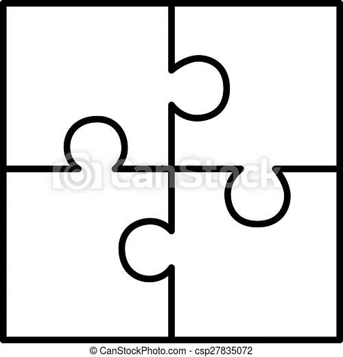 Four piece puzzle diagram on white background.