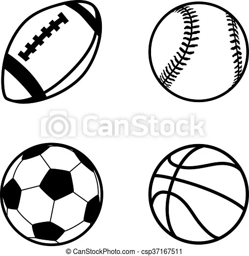 Four simple black icons of balls for rugby, soccer