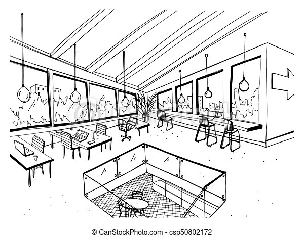 Freehand drawing of open space or coworking with large