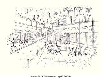 cafe sketch outdoor freehand hand european chairs tablecloths coffeehouse covered tables drawn vector standing street drawing clip illustration contour lines