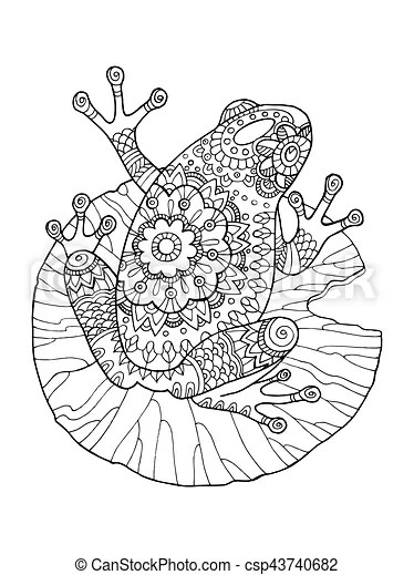Frog coloring book vector illustration. anti-stress