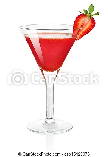 Frozen strawberry daiquiri alcohol cocktail isolated on white background.