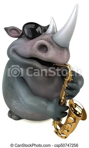 fun rhino 3d illustration