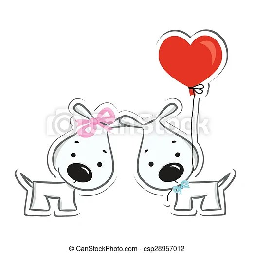 funny dogs' couple in love. sticker