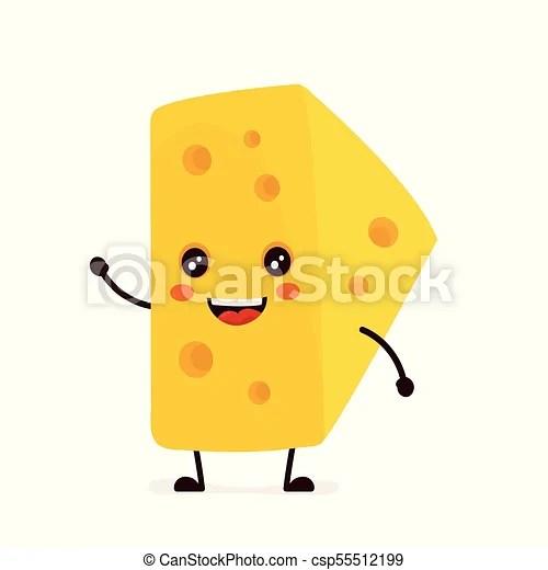 Funny happy cute smiling cheese vector flat cartoon