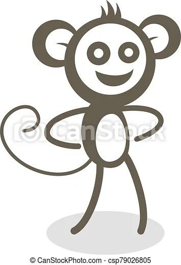 Funny Monkey Drawing : funny, monkey, drawing, Funny, Monkey, Draw., CanStock