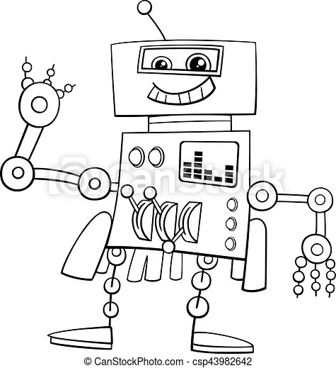 Funny robot coloring page. Black and white cartoon