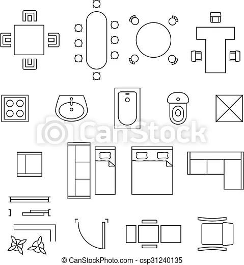 Furniture linear vector symbols. floor plan icons set