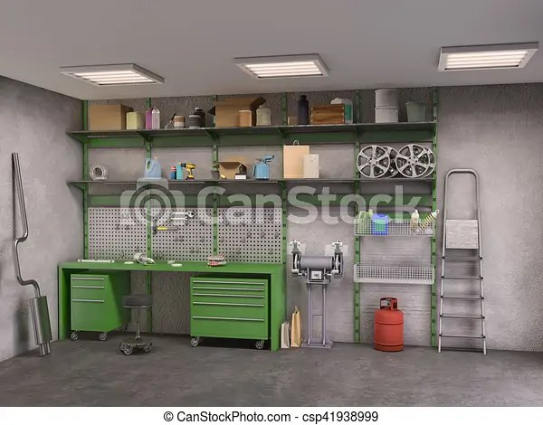 Garage Interior 3d Illustration