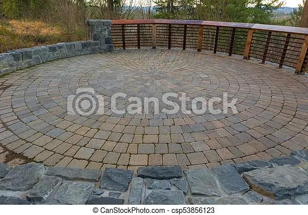 garden backyard circular brick