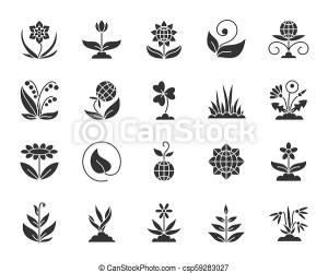 Garden black silhouette icons vector set Garden silhouette icons set isolated on white monochrome web sign kit of flower